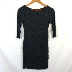 Bailey 44 dark gray fitted dress with layers